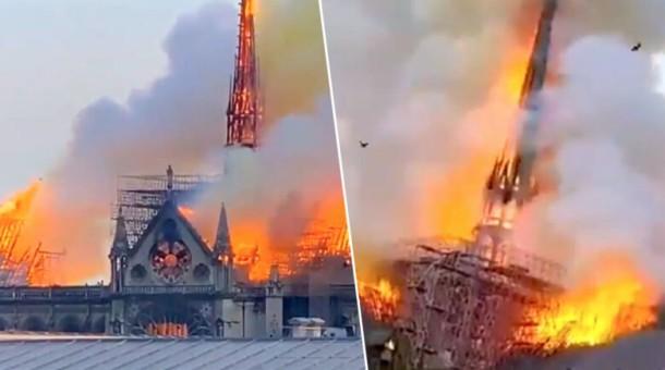 Katedra Notre Dame w ogniu. Zawaliła się iglica !